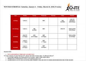 Winter Fitness Schedule 2018
